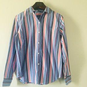 CHAPS striped button down shirt. Medium